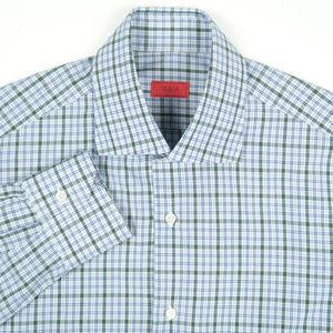 Isaia Blue Green Plaid Dress Shirt 15.5